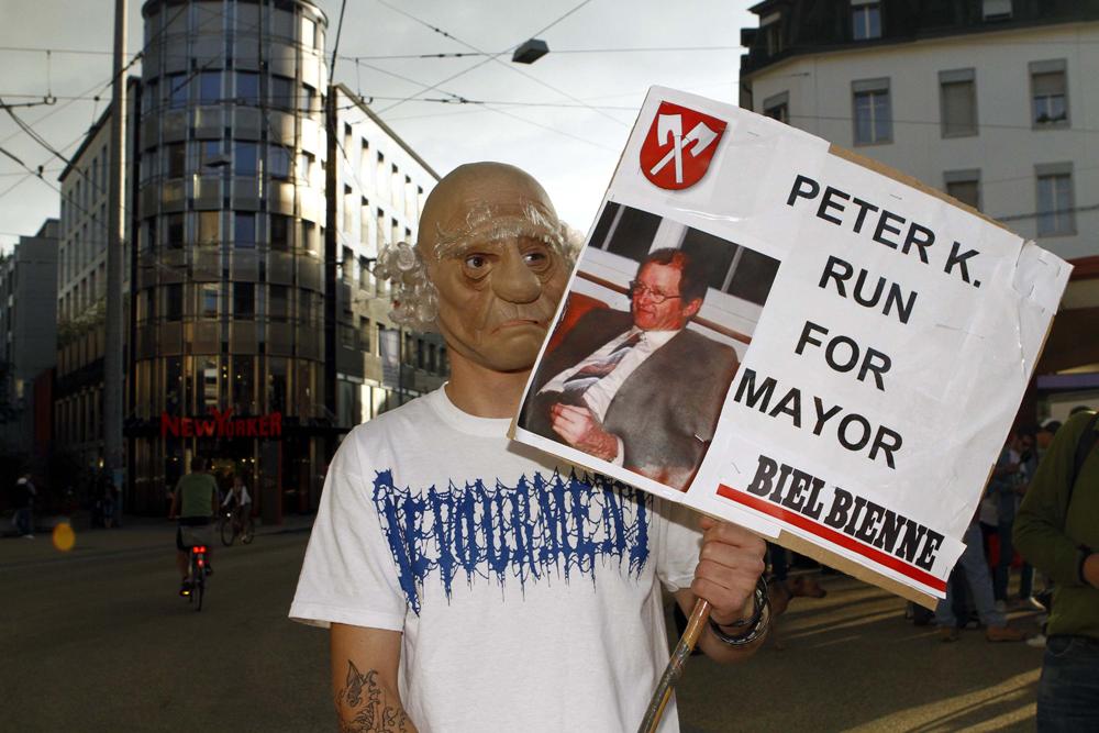 FOTO: PETER GERBER, 13.09.2010, Biel (BE):SolidaritŠtsdemo fŸr Peter Hans K in Biel. Amok In Biel